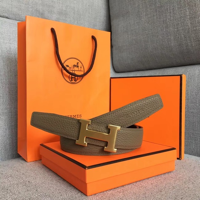 Hermes original togo 2 belt buckle & Reversible leather strap 32 mm H06454 grey