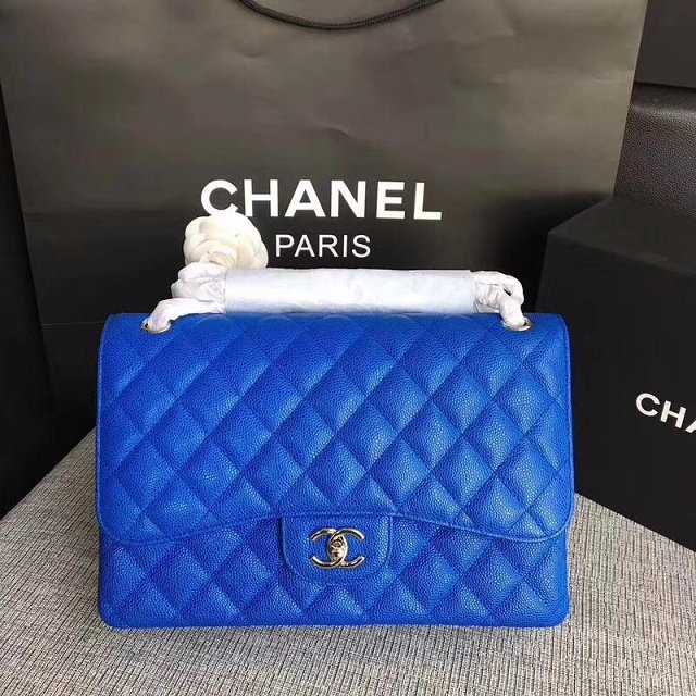 Chanel Jumbo Classic Cannage Pattern Flap Bag Original Leather A58600 Blue