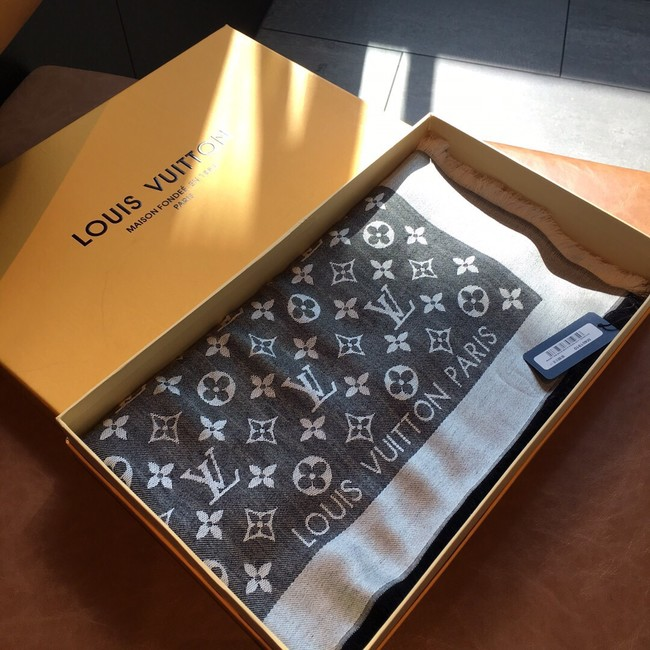 Louis Vuitton MONACO SQUARE Monogram flower pattern silk M71151 grey