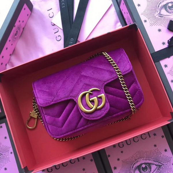 Gucci GG Marmont Velvet Super Mini Bag 476433 Purple