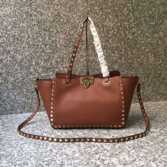 VALENTINO Rockstud medium tote 0972 brown