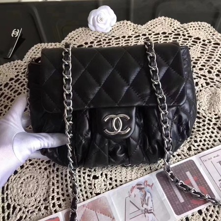 Chanel Classic Flap Bag Sheepskin Leather A33658 Black