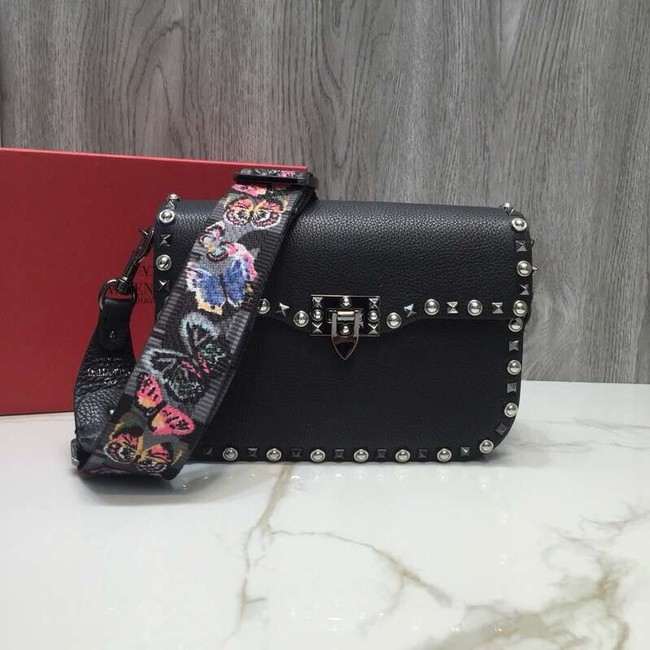 VALENTINO Rockstud grained leather messenger 0936B black