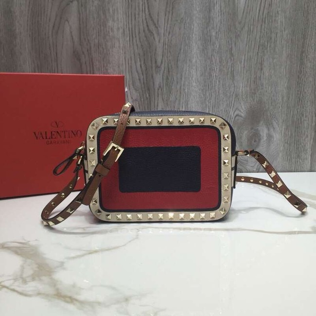 VALENTINO Rockstud leather camera cross-body bag 2855 Black&red&white