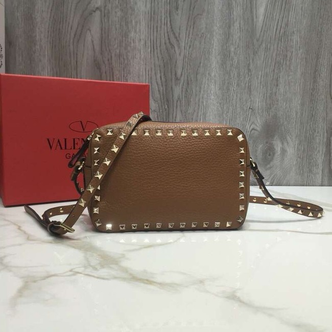 VALENTINO Rockstud leather camera cross-body bag 2855 brown