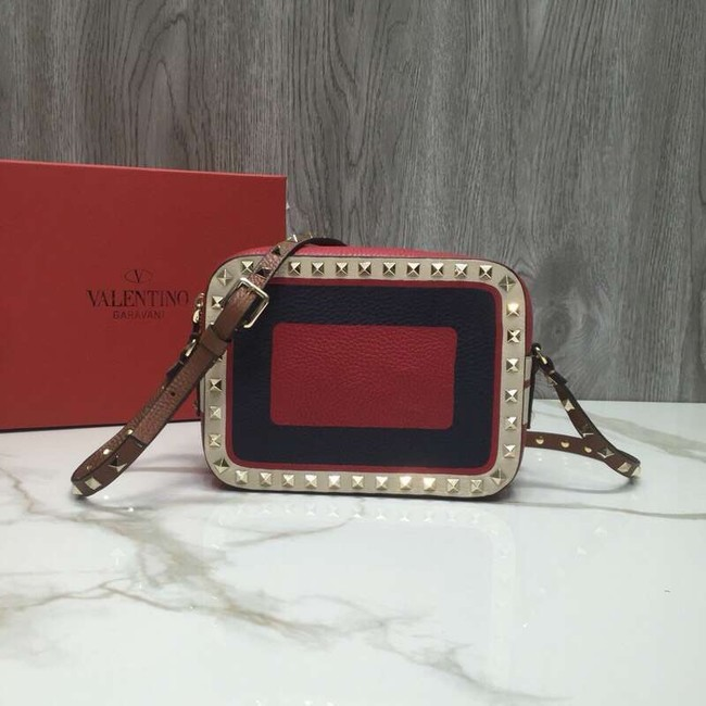 VALENTINO Rockstud leather camera cross-body bag 2856 Black&red&white