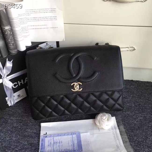 Chanel Grained Calfskin & Silver-Tone Metal A91869 Black