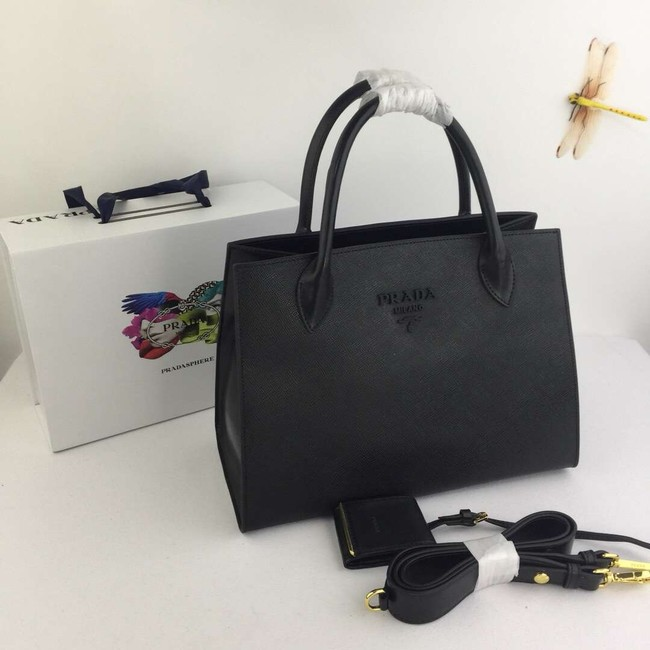 Prada Calfskin Leather Shoulder Bag 1BA155-1 black