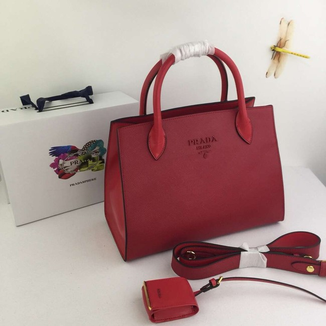 Prada Calfskin Leather Shoulder Bag 1BA155-1 red