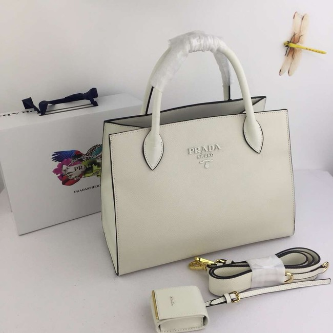 Prada Calfskin Leather Shoulder Bag 1BA155-1 cream