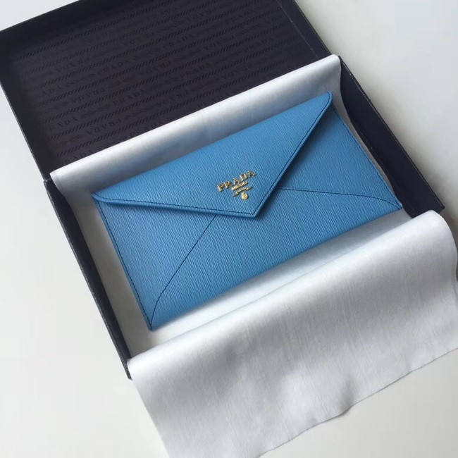 Prada Saffiano leather document holder 1MF175 blue