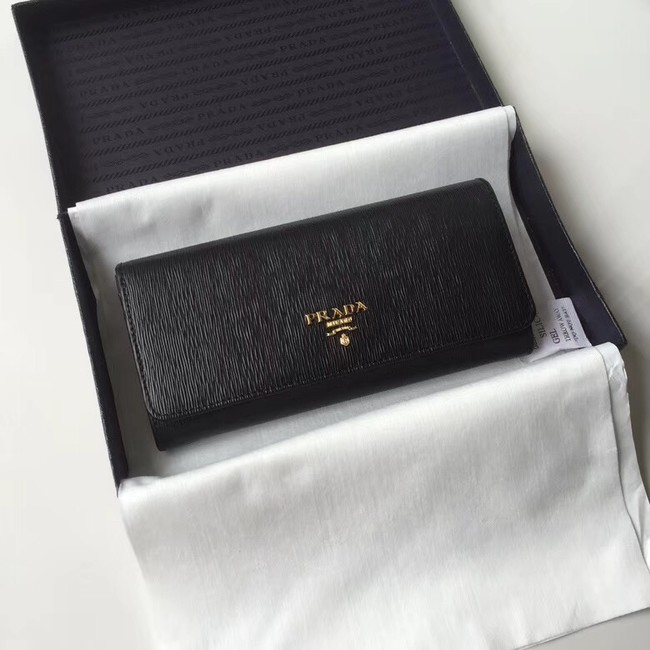 Prada Leather Wallet 1MH132 black