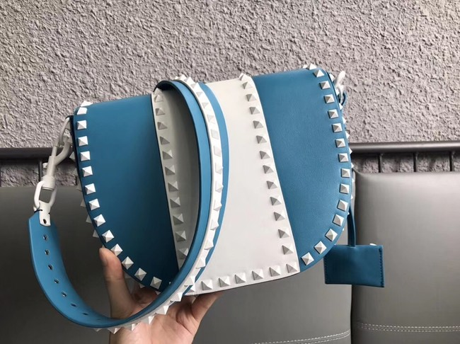 VALENTINO leather shoulder bag 0781 blue&white