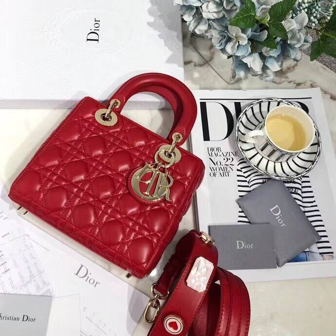 Dior lucky badges Original sheepskin Tote Bag 88035 red