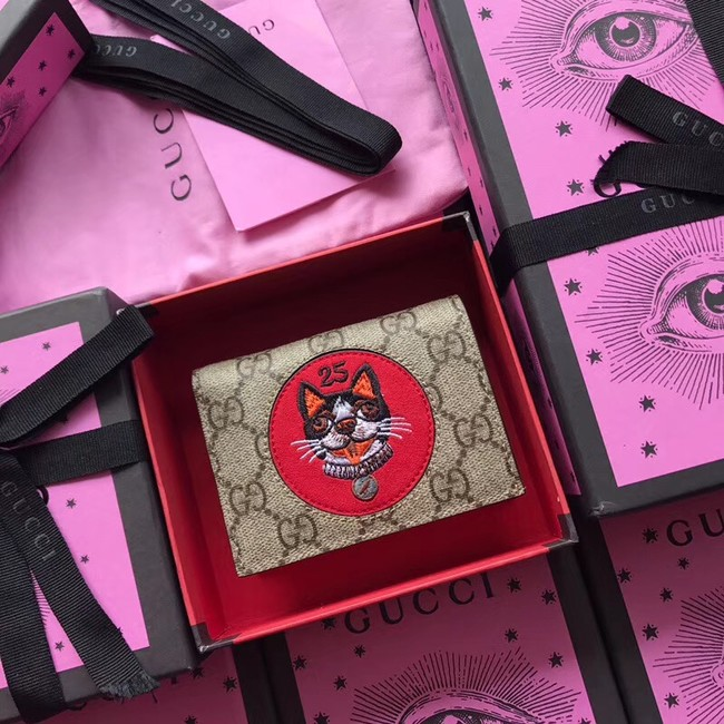 Gucci GG Supreme card case with Bosco patch 506277 red