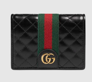 Gucci Leather card case with Double G 536453 black