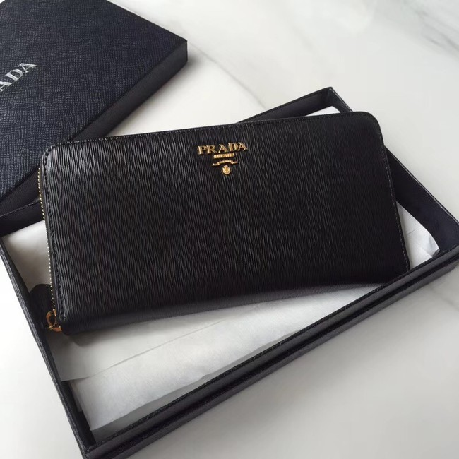 Prada Leather Large Zippy Wallets 1ML505 black