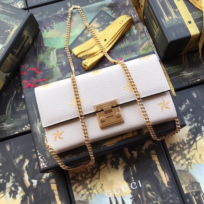 Gucci GG Marmont leather chain wallet 453506 white