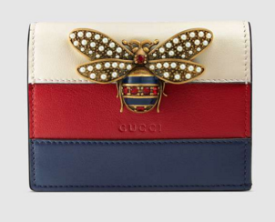 Gucci Queen Margaret leather card case 476072 White& hibiscus red&blue leather