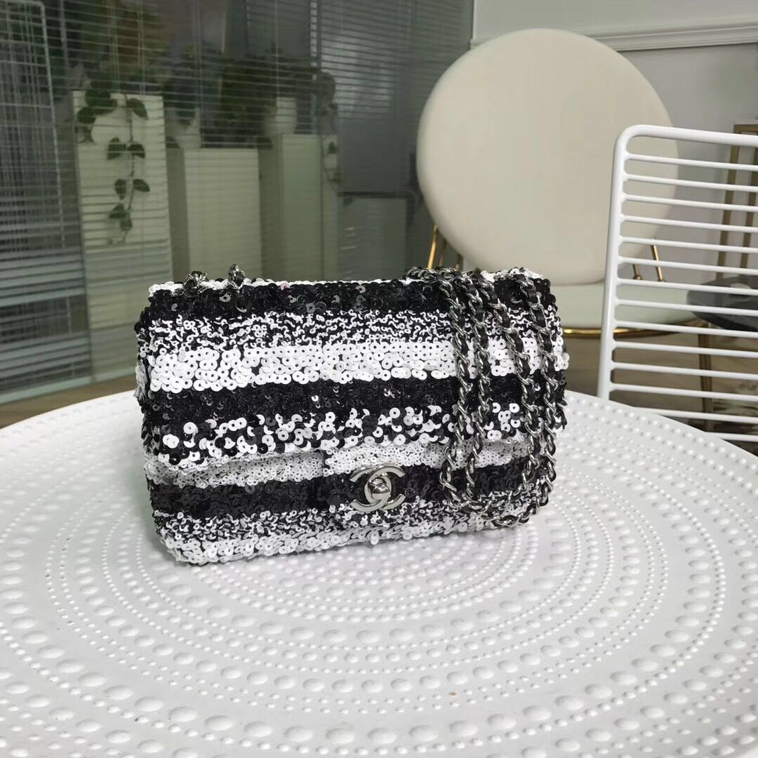 Chanel flap bag equins Lambskin Silver-Tone Metal AS0447