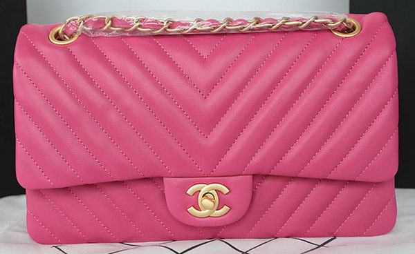 Chanel 2.55 Series Flap Bag Lambskin Chevron Leather A1112CF Rose