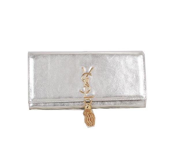 942709b41a Yves Saint Laurent Classic Monogramme Tassel Clutch Bag 326079 Silver