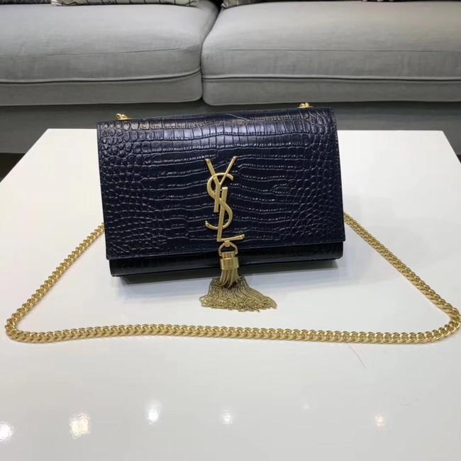 8dcc0072af SAINT LAURENT Kate croc-embossed leather shoulder bag 474366 Royal Blue