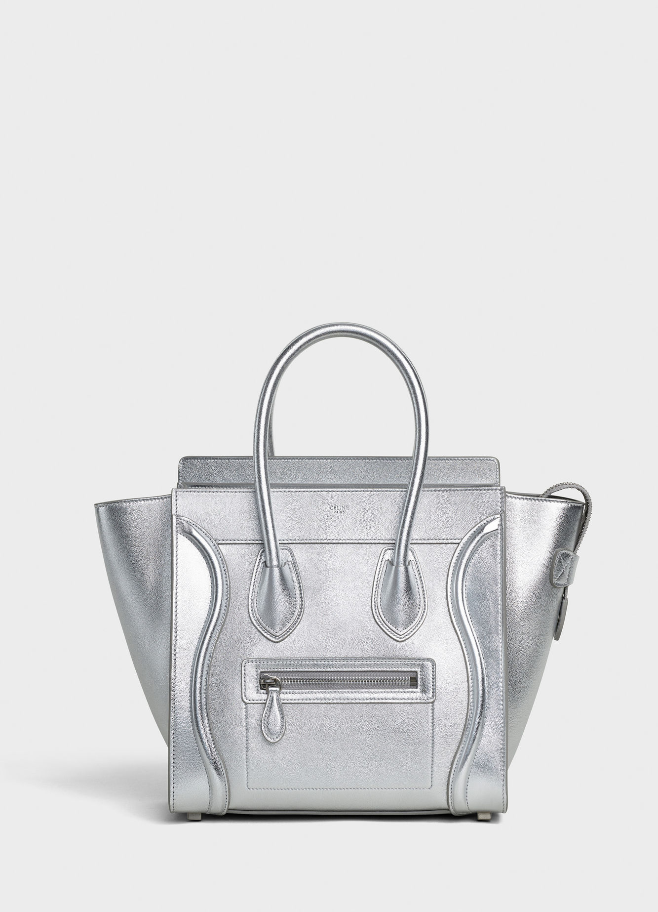 CELINE MICRO LUGGAGE HANDBAG IN LAMINATED LAMBSKIN 189793 SILVER