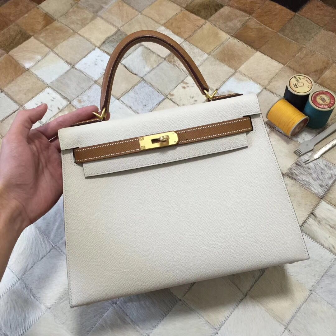 Hermes Kelly 28cm Shoulder Bags Epsom original Leather KL28 creamy-white