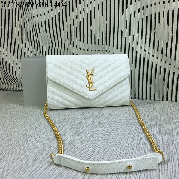 YSL Classic Monogramme Flap Bag Cannage Pattern Y377828L White