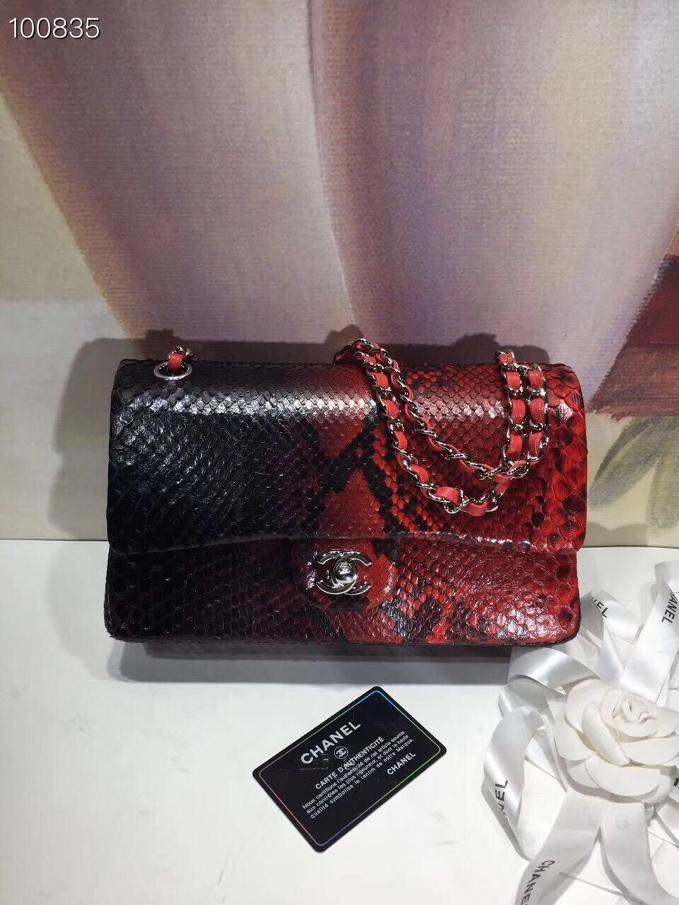 Chanel Classic Handbag Python Leather A01112 Black&Red