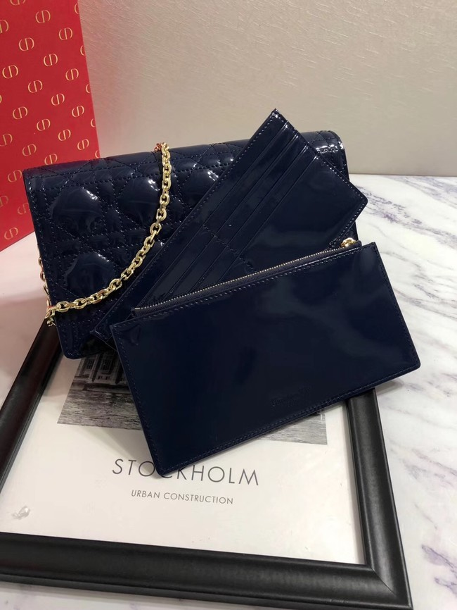 LADY DIOR CALFSKIN WALLET M9001 dark blue