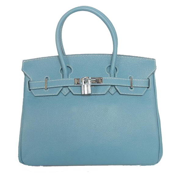Hermes Birkin 30CM Tote Bags Smooth Togo Leather Blue