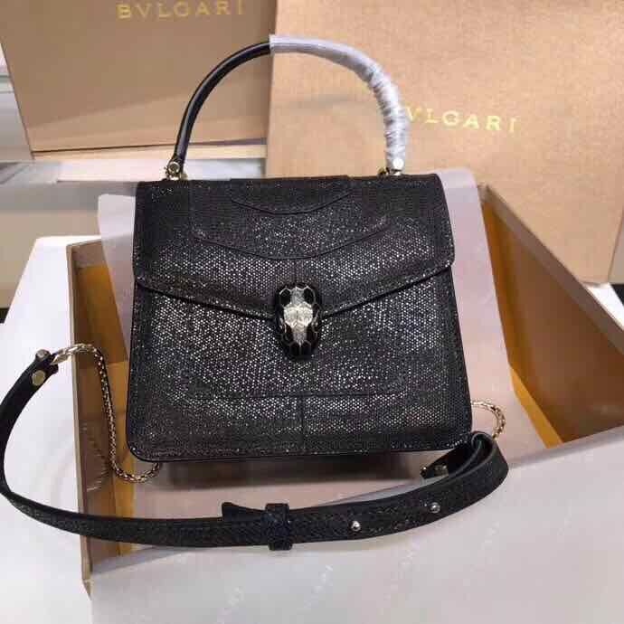 BVLGARI Serpenti Forever metallic-leather shoulder bag 058962 Black