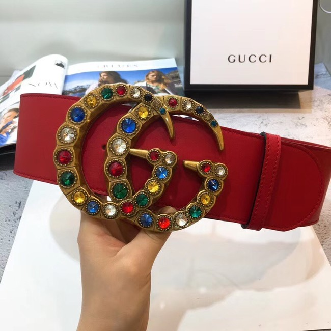 Gucci Wide leather belt with Double G 550111 red