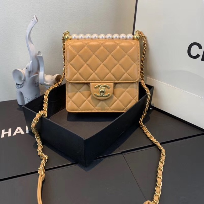 Chanel Flap Shoulder Bag Sheepskin Leather 77398 light tan
