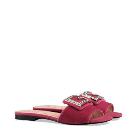 Gucci Velvet slide with crystal G GG1470BL-4