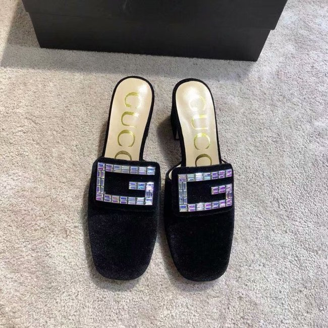 Gucci Velvet slide with crystal G GG1471BL-1