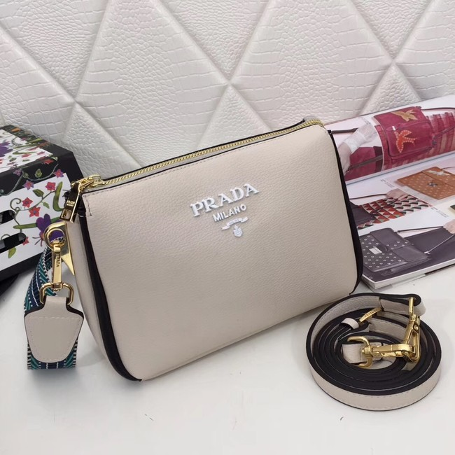 Prada leather shoulder bag 66136 white