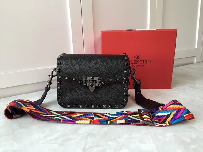 VALENTINO Rockstud leather messenger bag B50055 black