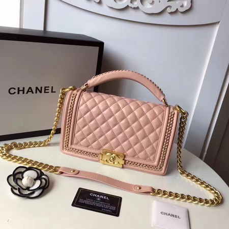 Boy Chanel Top Handle Flap Bag Original Sheepskin Leather A94804 Pink