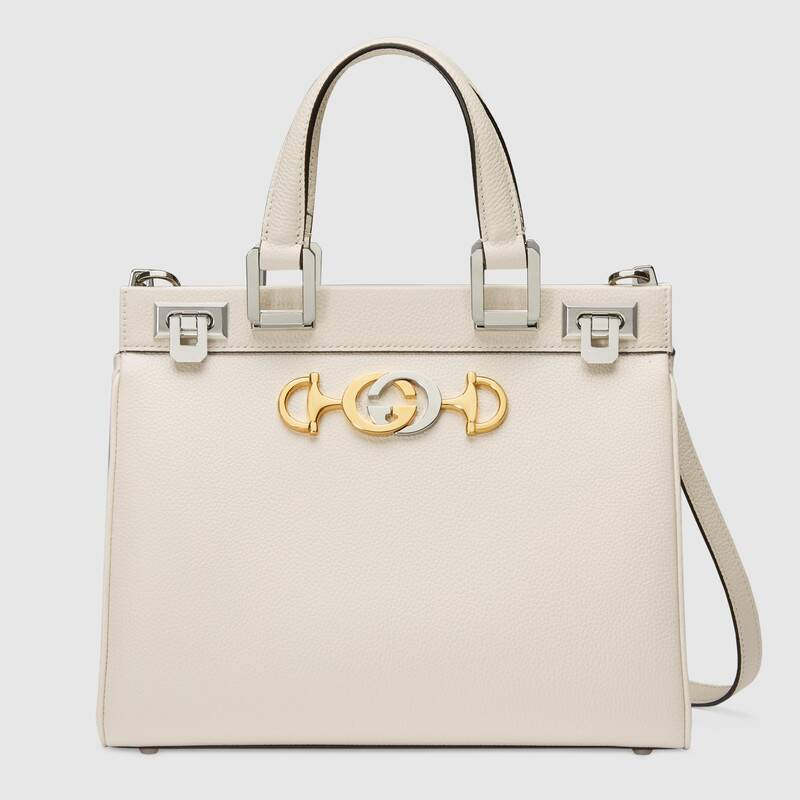 Gucci Zumi grainy leather small top handle bag 569712 White
