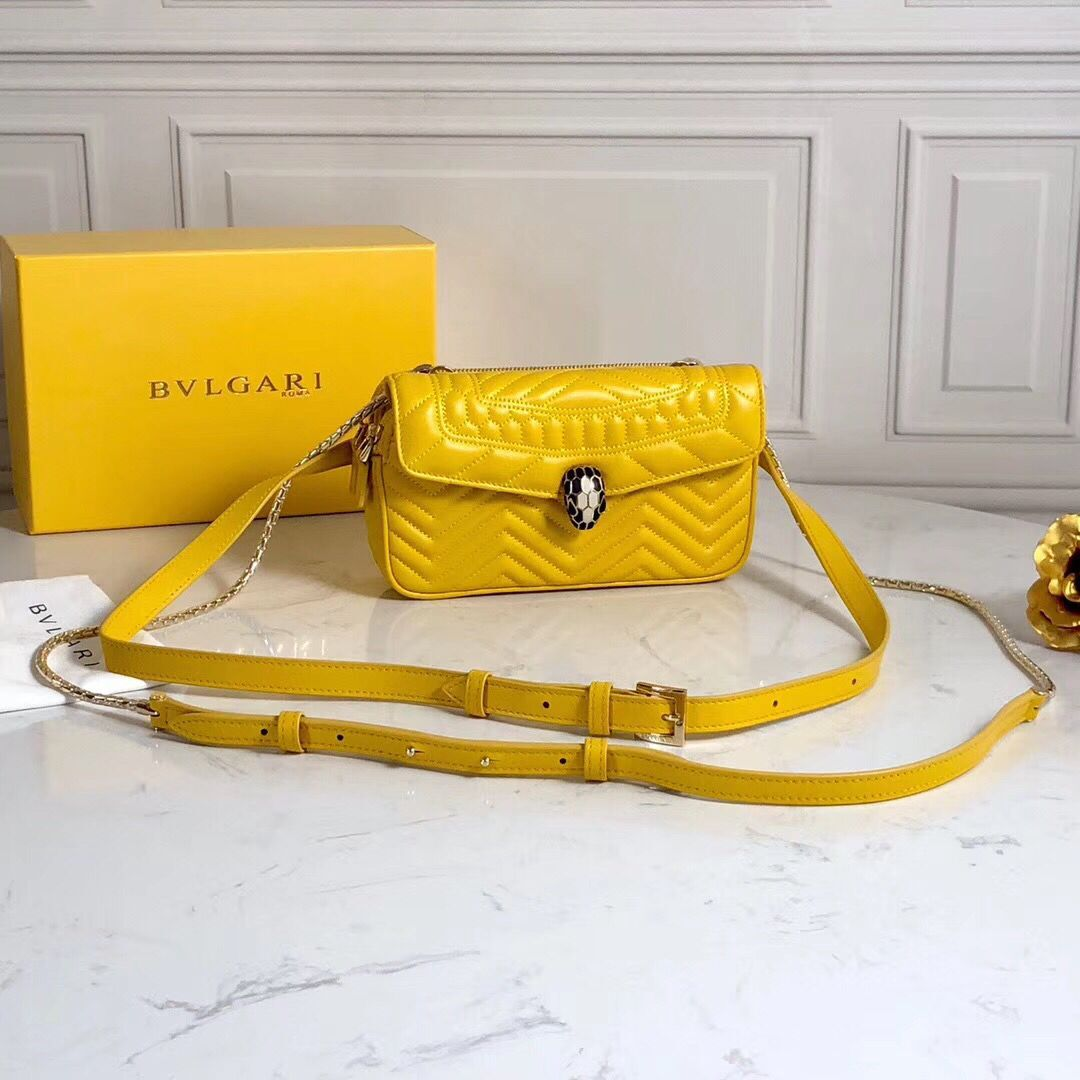 BVLGARI Serpenti Forever Original Calfskin Leather Belt Bag 287852 Yellow
