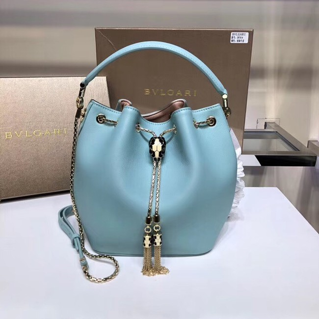BVLGARI Serpenti Forever leather flap bag B287614 sky blue