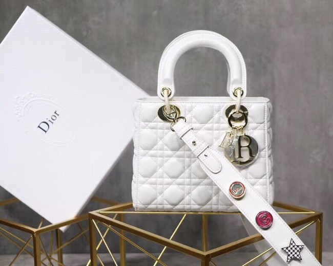 Dior lucky badges Original sheepskin Tote Bag A88035 white