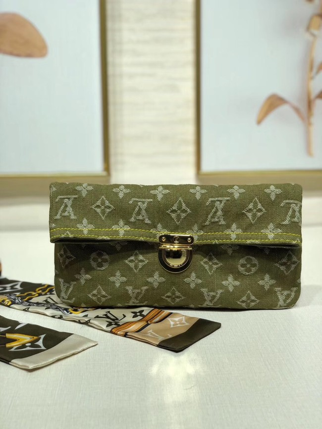 Louis Vuitton Denim Clutch bag M44472 green