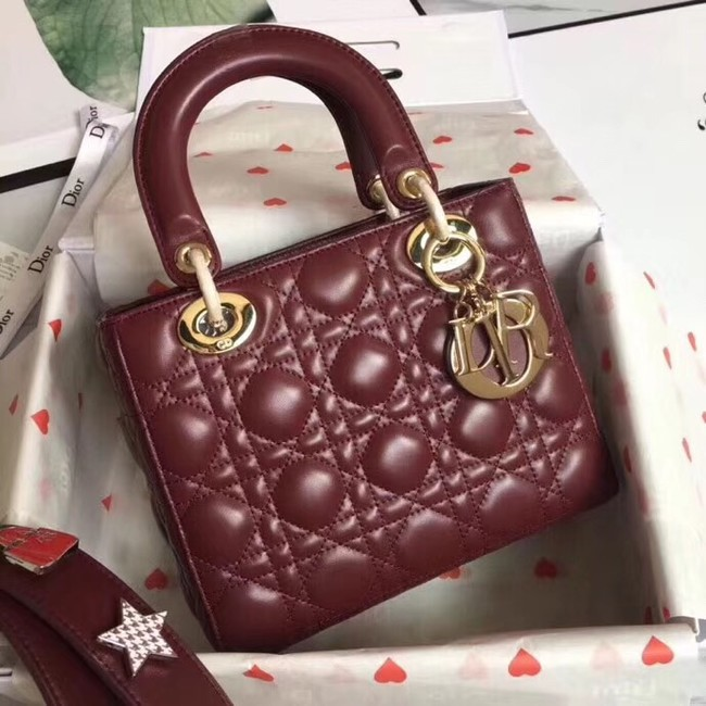 Dior lucky badges Original sheepskin Tote Bag A88035 Bordeaux