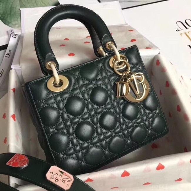 Dior lucky badges Original sheepskin Tote Bag A88035 Blackish green