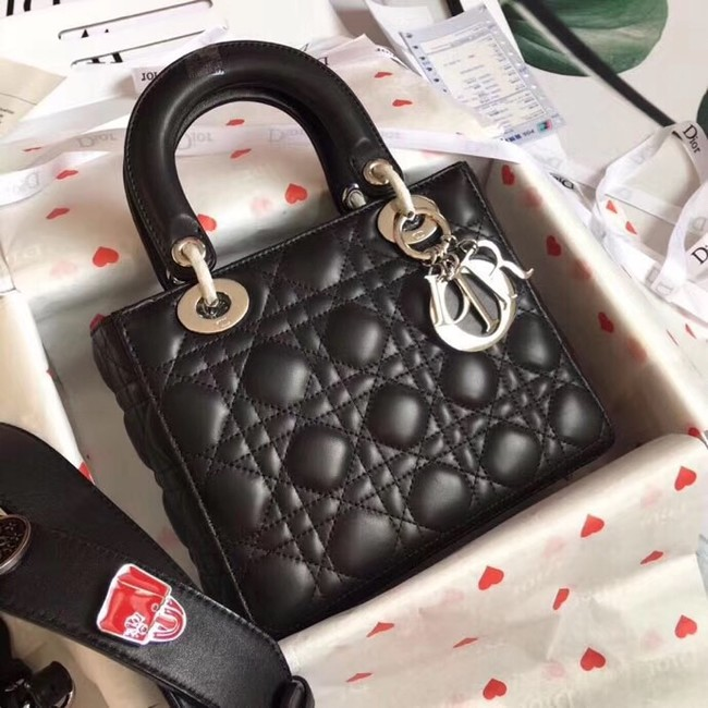 Dior lucky badges Original sheepskin Tote Bag A88035 black