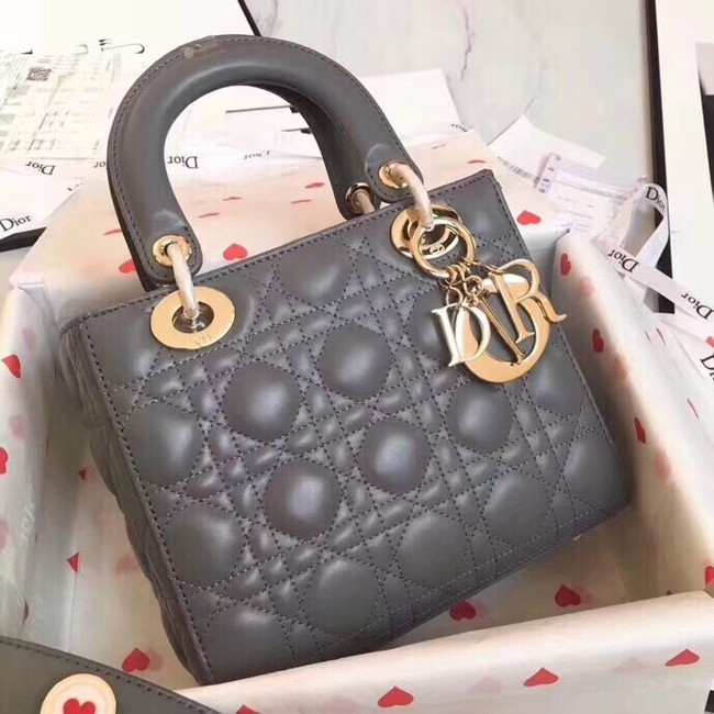 Dior lucky badges Original sheepskin Tote Bag A88035 grey